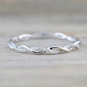 NEW 925 Silver Round Diamond Twisted Eternity Ring